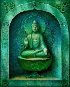 Green Buddha spiritual art poster Zen Buddhist Meditation Buddhism print of painting