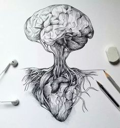 The World of the Mind Expressed in Drawings The Heart and Mind. The World of the Mind Expressed in Drawings. To see more art and information about Alfred Basha click the image. Art Drawings Sketches, Cool Drawings, Tattoo Drawings, Drawing Art, Deep Drawing, Drawing Trees, Drawing Animals, Drawing Flowers, Nature Drawing