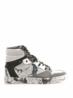 huge selection of 93715 48239 Marbled leather high-top trainers   Balenciaga   MATCHESFASHIO... Mens  Fashion Shoes