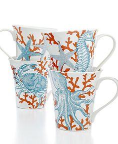 222 Fifth Dinnerware, Set of 4 Coastal Life Assorted Mugs
