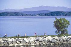 Island Line Rail Trail, Burlington, Vermont - Lake Champlain with Adirondacks in background