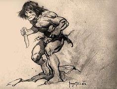 Barbarian with Knife - Frank Frazetta