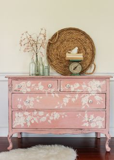 10 Modern Ways to Decorate with GrannyFlorals   Pink vintage-painted floral dresser styled with a modern white fur rug. Amazing DIY idea! @stylecaster
