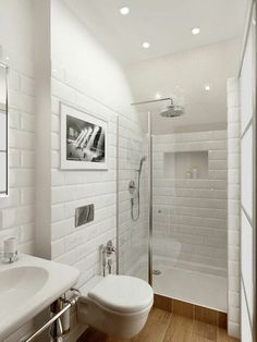De jolis carreaux blancs et un aménagement pratique d'une petite salle de bain  http://www.homelisty.com/amenagement-petite-salle-de-bain/