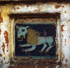 Лев.Изразец юго-восточной башни Спасо-Прилуцкого монастыря,17й век.