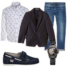 Camicia in fantasia con colletto con bottoni, jeans bambino blu, giacca blu per bambino, mocassino in pelle e gomma Melania, orologio Vivienne Westwood con movimento svizzero.