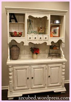 Just bought a hutch, haven't decided if I am going to paint or stain it though. This is adorable