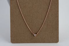 Rose Gold Dainty Triangle Jewel Pendant Necklace