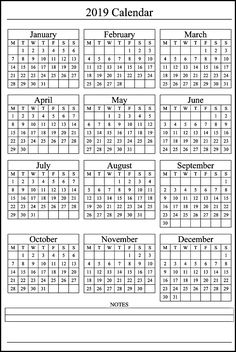2019 Printable Calendar Yearly Calendar Pinterest Calendar
