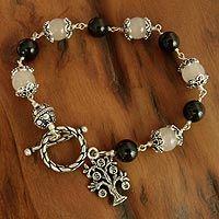 Rose quartz and onyx beaded bracelet, 'Lucky Money Tree' from @NOVICA, They help #artisans succeed worldwide.