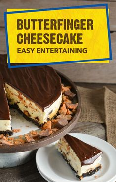 Is there anything better than the crispety, crunchety, peanut-buttery taste of this Butterfinger® Cheesecake? We think not! A chocolate cookie crust comes together with cream cheese filling and a hot fudge sauce topping to create an impressive dessert recipe that's perfect for family celebrations.