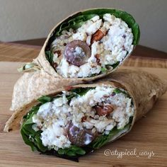 Chicken Salad Wrap with Quinoa, Grapes, Pecans & Feta 1 low carb wrap 3oz shredded chicken 1/4cup precooked tricolor quinoa 7 red grapes - halved 7grams crumbled feta cheese 5grams chopped pecans 2tbsp fat free greek yogurt 1tsp lemon juice 1tsp olive oil 1/2tsp vinegar Handful of spring mix.  Combine ingredients (except greens and feta) Season with some more pepper or salt. Lay the tortilla flat & layer with the spring mix, chicken mix & then feta cheese. Roll up tightly and cut in half!