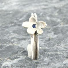 Blue Sapphire Sterling Silver Stacking Ring Flower by EfratJewelry, $35.00 #Blue_Sapphire #Silver_Ring #flower #EfratJewelry #Stacking_Ring