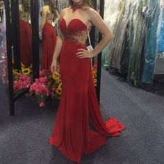 Red RIVA prom dress! Stunning red RIVA Prom dress with beautiful beading detail. Brand New, with the tags, Never worn.  Originally paid $479 and just decided not to wear it. Sherri Hill Dresses Prom