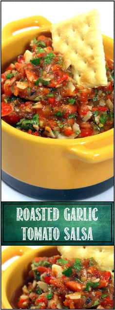 SWEET ROASTED GARLIC Tomato Salsa - This dish is fantastic as a started chip and dip, slather some of this on a hot dog, add as a compliment to a grilled Salmon fillet, grill a few toast points and serve up a wonderful fresh Bruschetta (dare I suggest a single cube of Cantaloupe on a fork with a bit of this... Really!)…