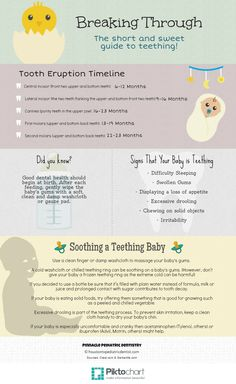 Click here to view our simple teething guide for teething facts and tips that will help you and your baby get through this uncomfortable time! Oral Hygiene, Teething, Pediatrics, Infographics, Two By Two, Facts, Simple, Tips, Baby