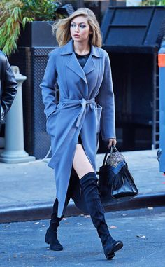 <p>The model rocks an Iris von Arnim trench coat and pairs it with knew high boots in New York.</p>