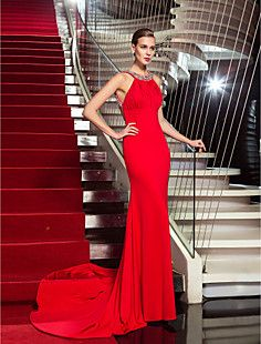 Sheath/Column Halter Sweep/Brush Train Jersey Evening Dress ... – USD $ 179.99