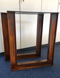 2er Set Tischbeine Stahl Design Tischkufen Stützfuss Tischgestell  Edelrost    eBay
