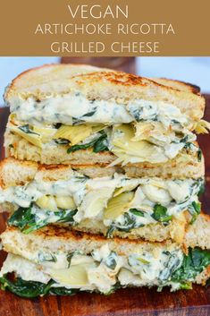 Artichoke ricotta grilled cheese sandwich (VEGAN of course) by - with homemade spinach almond ricotta (recipe below -… Delicious Vegan Recipes, Vegetarian Recipes, Healthy Recipes, Vegan Grill Recipes, Burger Recipes, Vegan Meals, Vegan Sandwich Recipes, Tofu Sandwich, Tofu Recipes