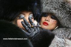 Fox Fur's and Smoking Close up... www.fetishmistressuk.com