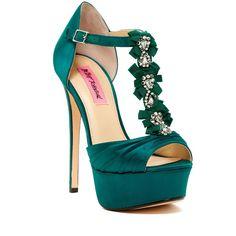 Betsey Johnson Elizabth Satin Platform Sandal ($60) ❤ liked on Polyvore featuring shoes, sandals, teal, bow sandals, jeweled sandals, high heel platform shoes, platform shoes and open toe platform sandals