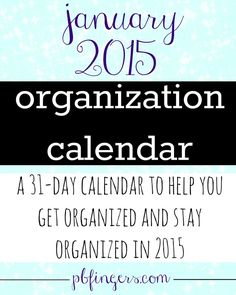 Organization Calendar -- A day-by-day one month calendar to help you get organized and declutter your life! Calendar Organization, Clutter Organization, Organisation Ideas, Organizing, Motivation Goals, School Motivation, Peanut Butter Fingers, Blog Topics, Staying Organized