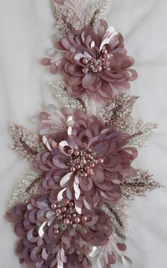 Wonderful Ribbon Embroidery Flowers by Hand Ideas. Enchanting Ribbon Embroidery Flowers by Hand Ideas. Bead Embroidery Patterns, Tambour Embroidery, Couture Embroidery, Embroidery Fashion, Silk Ribbon Embroidery, Hand Embroidery Designs, Embroidery Stitches, Sequin Embroidery, Embroidery Supplies