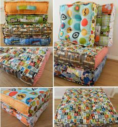 A Tufted Floor Pillow Tutorial How Much Fun Would These Be To Sew For Kids