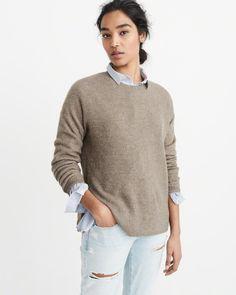 A&F Women's Button Crew Sweater