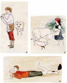 "Drawings done by the Grand Duchess Olga Nikolaevna Romanova of Russia. ""AL"""