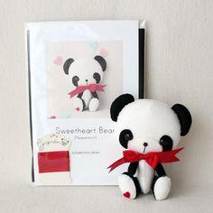 Peppermint Sweetheart Bear Pattern Kit PURE Felts by Gingermelon
