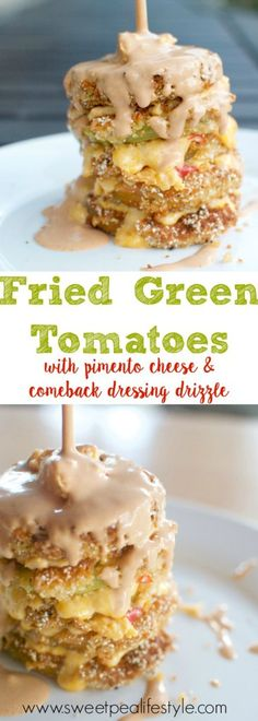 The BEST Fried Green Tomatoes, Ever. | These warm, crunchy fried green tomatoes are layered with pimento cheese and covered in a comeback dressing drizzle. What an elegant, but humble appetizer to serve at your next dinner party!