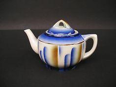 Kaffeekanne Teekanne Spritzdekor Bunzlauer Keramik Pottery Bunzlau Art Deco LOOK