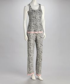 Take a look at this Black Leopard Electrifying Lace Pajamas - Women by René Rofé on #zulily today!