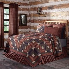 Visually stunning, the Parker Quilt marries the classic Trip Around the World pattern with log cabin blocks, studded with patchwork primitive stars. Expertly crafted stitch in the ditch hand-quilting on rich burgundy, deep navy and natural shade micro plaid cotton. Reverses to navy and natural shade micro plaid fabric.