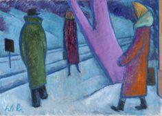 Werner Berg (1904–1981), Wartende / Waiting, 1973. oil on canvas, 63 x 89 cm