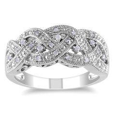 Shop for Miadora Sterling Silver 1/8ct TDW Diamond Ring (H-I, I2-I3). Get free…