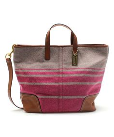 Look at this #zulilyfind! Gray & Raspberry Hadley Blanket Stripe Wool & Leather Weekender by Coach #zulilyfinds