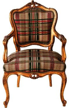 Elegant chair with tartan design.got the chair.