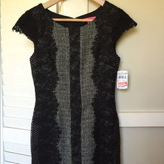 Betsey Johnson Beauty! Stunning cocktail sheath dress by the inimitable Betsy Johnson. Black lace panels over soft gray tweed, form fitting and flattering. Feminine yet edgy. Fits true to size. NWT, never worn! Betsey Johnson Dresses Mini