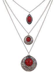 Yazilind Bañado En Plata Multilayer Collar de cadena con colgante redondo ovalado incrustaciones Rojo Turquesa Collar para las mujeres