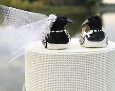 Minnesota Loon Cake Topper: Birch Bark Bride and Groom Rustic Wedding Cake Topper