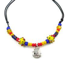 Wikinger Halskette Kinderkette Wikinger Schiff, Augenperlen, echt silber von BelanasSchatzkiste