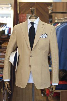 Drake's Irish Linen Jacket, Untipped Grenadine, Panama Hat, Shoe String Pocket Square and Cleeve Poplin Shirt.