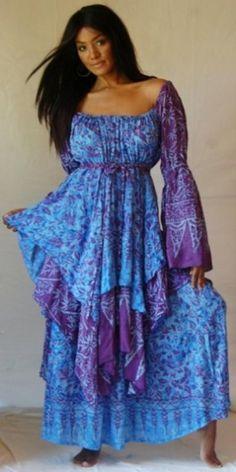 BLUE-PURPLE/DRESS-RENAISSANCE-L 1X 2X-PEASANT \'MADE 2 ORDER\' LOTUSTRADERS | Dress | Lotus Traders Clothing