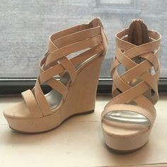 "Sexy Charlotte Russe Nude Wedge Sandals Only worn twice! Size 8, true to size. Color is nude/cream/champagne/light rose. Heel is 5"", platform is 1.25"". Very comfortable because they're wedges. Open to offers! Charlotte Russe Shoes Wedges"