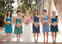 Different shades/styles of blue for bridesmaids