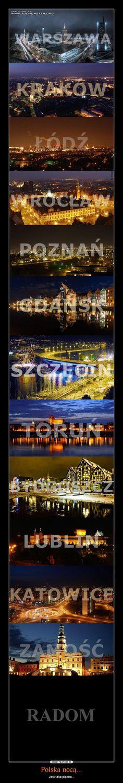 Polish cities (Poznan, Krakow, Warsaw, Wroclaw, Szczecin among others) by night.