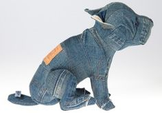 Upcycling: liten hund av jeans. Bloggen Re-creating.se (återbruk)